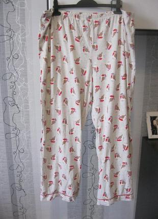 Пижама пижамные домашние штаны брюки коттон вискоза большого р...