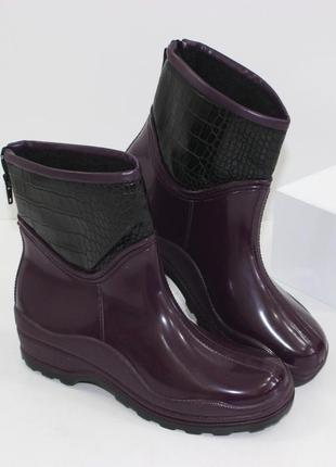 Женские фиолетовые короткие резиновые силиконовые сапоги полус...