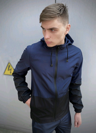 Мужской костюм сине-черный демисезонный Softshell Light Куртка му