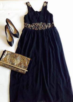 Роскошное черное шифоновое платье в греческом стиле