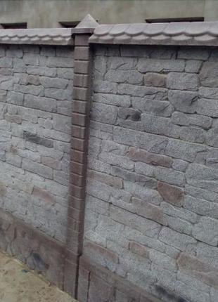 """Глянцевый забор """"Римский камень"""" с установкой под ключ"""