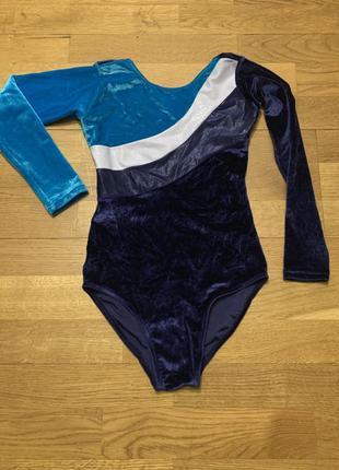 Гимнастический велюровый купальник с длинным рукавом  для девочк