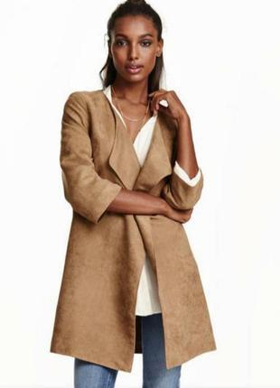 H&m женское пальто плащ кардиган рукав 3/4 на запах замш велюр...
