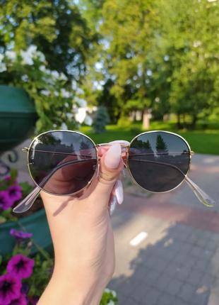 Стильные круглые очки черные золотая серебристая оправа round ...
