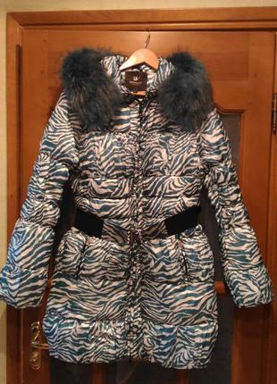 Распродажа пуховик пальто пух+перо мех енот