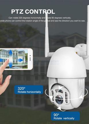 Внешняя(Уличная)поворотная беспроводная цифровая IP-камера Wi-...