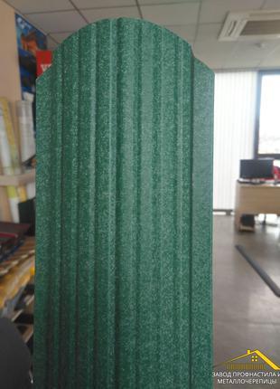 Металлический евроштакетник зелёного цвета Ral 6005, купить Киев