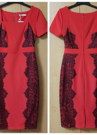 Красное силуэтное платье (миди) с кружевом marks&spencer