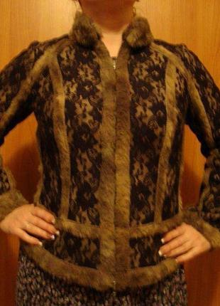 Куртка дублёнка теплая внутри мех сверху гипюр.