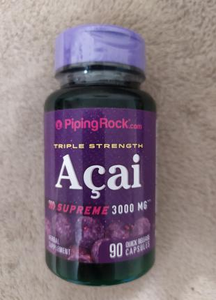 Асаи, 3000 мг, 90 капсул Piping Rock США.