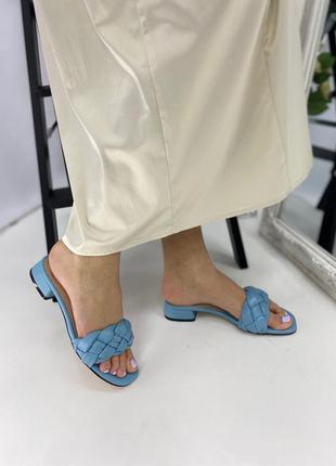 Женские кожаные шлепки на каблуке