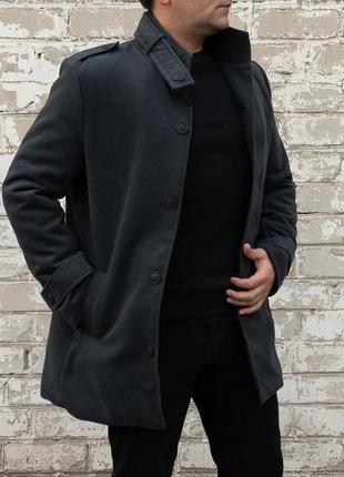 Пальто мужское теплое стеганное кашемир черное / пальто чоловіче