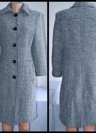 Брендовое серое демисезонное шерстяное пальто с карманами bhs ...