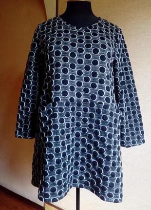 Тёплая зимняя туника в горох или короткое платье из фактурного...