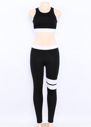 Костюм для фитнеса женский бифлекс, черный