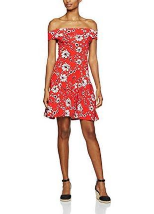 Яркое платье цветочный принт со спущенными плечами 22/56-58 ра...
