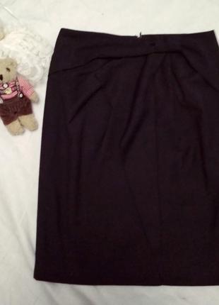 Шикарная классическая черная юбка с бантом с драпировкой