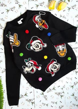 🌿1+1=3 плотный черный свитер с микки маусом disney оверсайз, р...