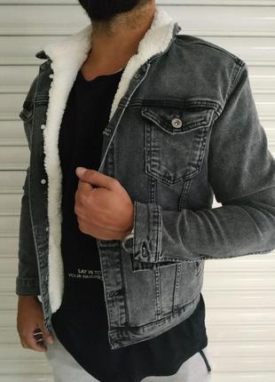 Джинсовка мужская на меху серая / джинсовый пиджак куртка курт...