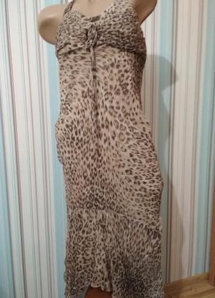 Шёлковое платье сарафан с леопардовым принтом
