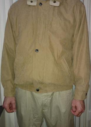Куртка бомбер ветровка замшевая мужская большой размер бежевая...