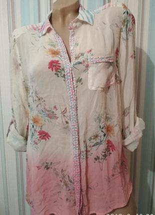 Блуза белая с розовым с цветочным принтом
