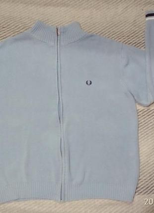 Кофта свитер пайта голубого цвета  fred perry