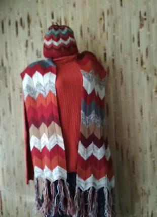 Ручная работа ажурный шарф и шапочка в стиле missoni