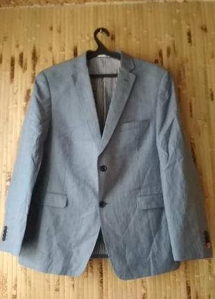 Пиджак жакет блейзер мужской льняной лён лен синий в белую пол...