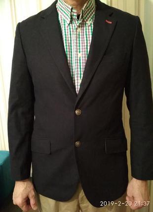 Пиджак жакет блейзер мужской темно-синий из хлопка
