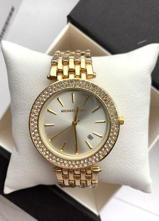 Женские часы MK белый, черный циферблат