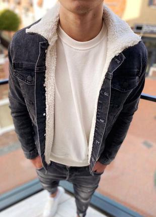 Джинсовка мужская на меху темно серая / джинсовый пиджак куртк...