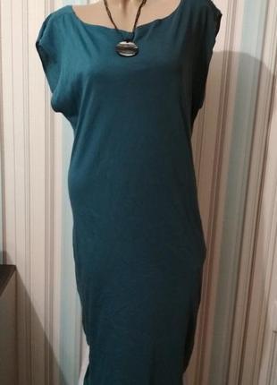 Летнее хлопковое платье с открытой спинкой большой размер