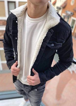 Джинсовка мужская на меху черная / джинсовый пиджак куртка кур...