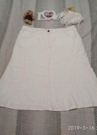 Роскошная белая льняная юбка большой размер от canda