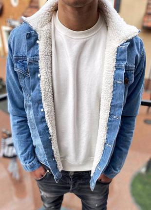 Джинсовка мужская на меху синяя / джинсовый пиджак куртка курт...
