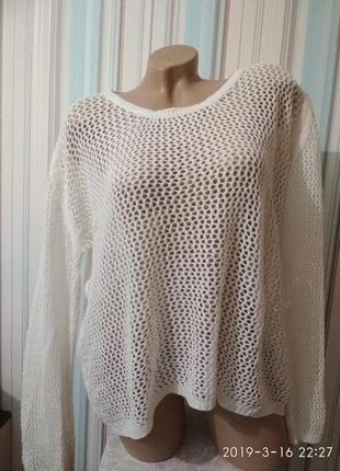 Белый ажурный свитерок пуловер кофта оверсайз