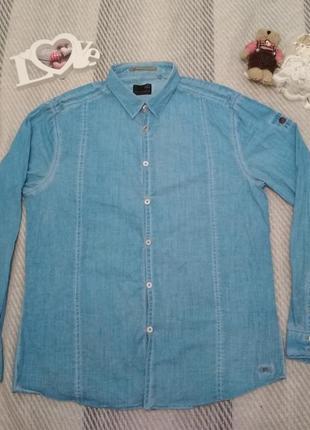 Шикарная мужская рубашка голубого цвета хлопок