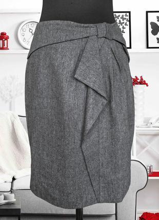 Юбка шерстяная меланж с драпировкой спереди orsay