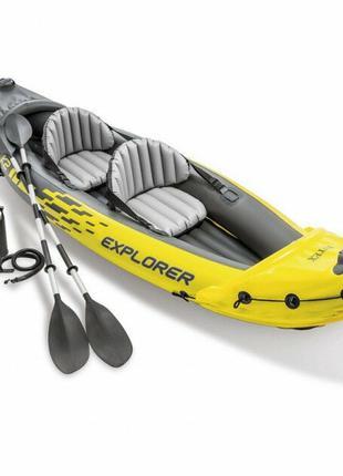 2-х местная лодка байдарка с надувным дном, в комплекте 2 весла и