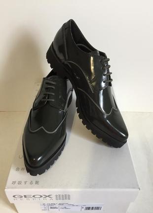 Туфли-броги натуральная кожа geox respira, 40р-р