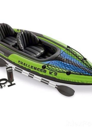 Лодка-байдарка 2-х местная с надувным дном, веслами, ручным насос