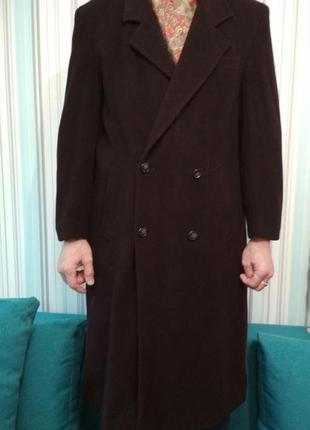 Шикарное мужское кашемировое пальто темно-синего цвета