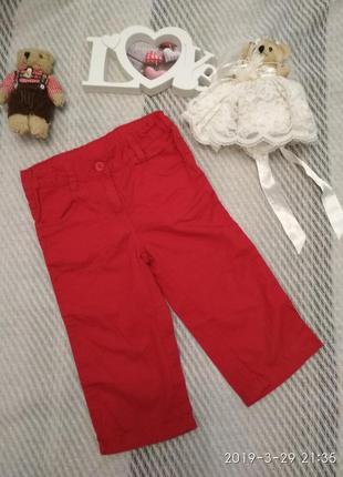 Бриджи капри кюлоты хлопковые красные для девочки 4-6 лет palo...