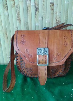 Винтаж сумка кожаная кросс боди ручная работа этно бохо стиль