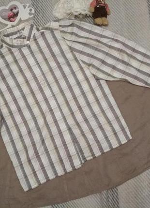 Рубашка сорочка блуза в полоску и клетку с объемными рукавами ...