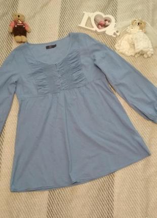 Блуза батистовая голубого цвета большой размер