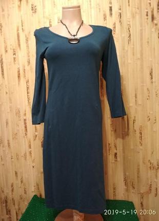 Платье трикотажное хлопок бирюзового цвета