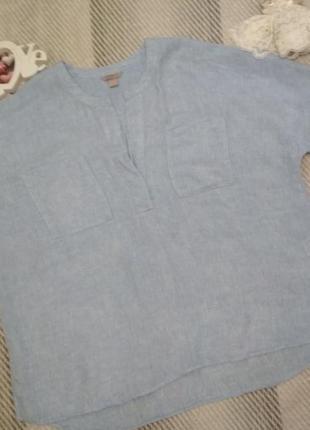 Блуза льняная лён большой размер голубого цвета  от h&m