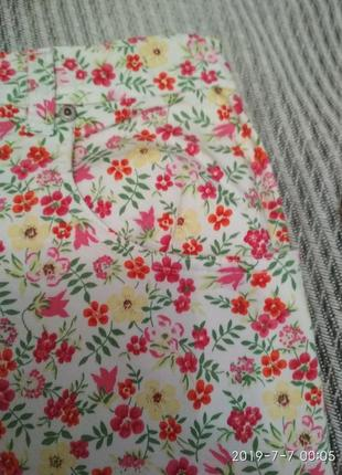 Юбка джинсовая в цветочный принт большой размер